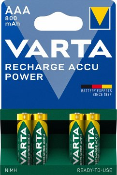 1x4 Varta Rechargeable Accu AAA Ready2Use NiMH 800 mAH Micro