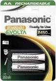 1x2 Panasonic Akku NiMH Mignon AA 2450 mAh Rechargeable Evolta