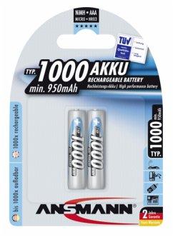 1x2 Ansmann NiMH Akku 1000 Micro AAA 950 mAh