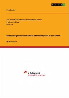 Bedeutung und Funktion des Stammkapitals in der GmbH (eBook, PDF)