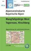 Alpenvereinskarte Wanderkarte Mangfallgebirge West, Tegernsee, Hirschberg