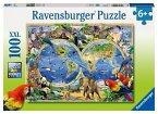 Ravensburger 10540 - Tierisch um die Welt, 100 Teile XXL Puzzle