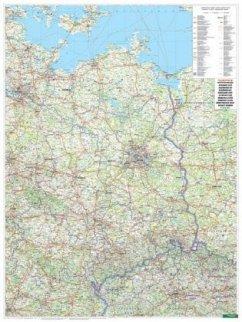 Freytag & Berndt Poster Wandkarte: Deutschland Ost, 1:500.000, Metallbestäbt in Rolle