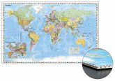 Stiefel Wandkarte Großformat Weltkarte mit Ausschnitt Zentraleuropa zum Pinnen auf Wabenplatte