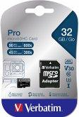 Verbatim microSDHC Pro 32GB Class 10 UHS-I incl Adapter