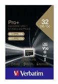Verbatim microSDHC Pro+ 32GB Class 10 UHS-I incl Adapter