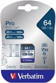 Verbatim SDXC Karte Pro 64GB Class 10 UHS-I