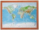 Welt, Reliefkarte, mit Holzrahmen