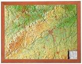 Schwäbische Alb, Reliefkarte, Klein, mit Holzrahmen