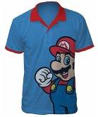 Nintendo Polo-Shirt -S- Mario, blau/rot