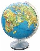 Terra Globus, Meridian und Fuß silberfarben Kunststoff