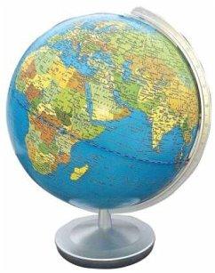 Terra Globus, Meridian und Fuß silberfarben Kun...