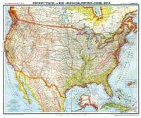 General-Karte von Vereinigte Staaten von Nord-Amerika (USA), Cuba, Portorico und Bahama-Inseln, um 1903 [Plano-Reprint] - Handtke, Friedrich