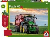 Schmidt 56043 - John Deere, Siku Traktor 8370R, Puzzle 60 Teile