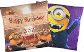 Doppelseitiges Minions Kissen: Happy Birthday Dracula / Vampir Minion, 40x40 cm
