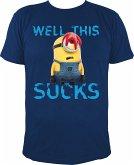 MINIONS T-Shirt, Stuart - Well This Sucks, blau, Gr. XL