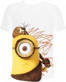 MINIONS T-Shirt, Cro Minion - Stuart mit Keule (Caveman), weiss, Gr. M