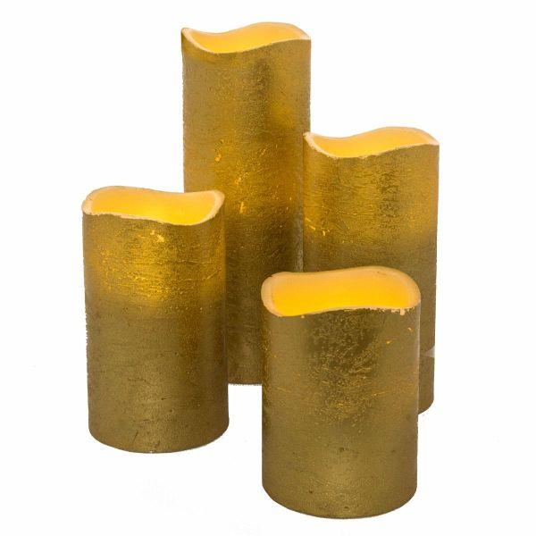 led kerzen set 4 tlg goldfarben. Black Bedroom Furniture Sets. Home Design Ideas