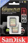 SanDisk Extreme Plus 2-Pack 16GB 90MB/s. UHS-I SDSDXSF-016G-GNCI2