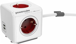 allocacoc PowerCube Extended USB inkl. 1,5 m Kabel rot Type F
