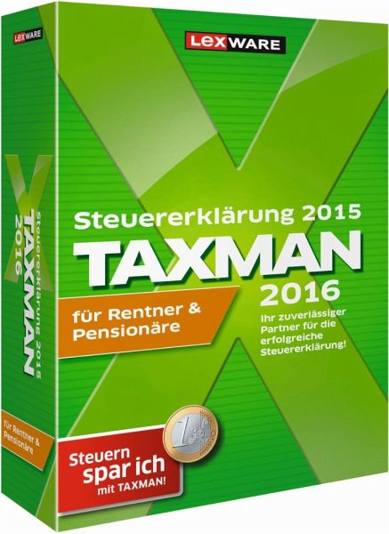 taxman 2016 f r rentner pension re version f r die steuererkl rung 2015 software. Black Bedroom Furniture Sets. Home Design Ideas
