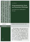 Programmatische Texte zur Deutschen Philologie (eBook, PDF)