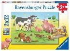 Ravensburger 07590 - Glückliche Tierfamilien, Puzzle, 2 x 12 Teile