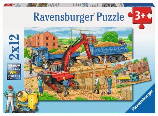 ravensburger 07589 hausbau auf der baustelle 2 x 12 teile. Black Bedroom Furniture Sets. Home Design Ideas