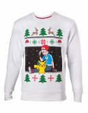 Pokemon Pullover -S- Christmas Ash & Pikachu, weis