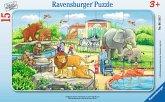 Ravensburger 06116 - Ausflug in den Zoo, 15 Teile Rahmenpuzzle