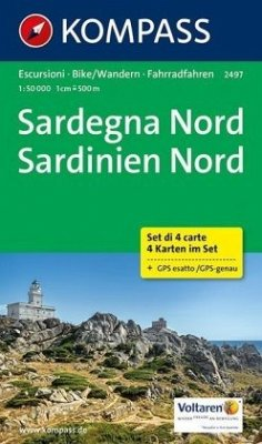 Kompass Karte Sardegna Nord, 4 Bl.; Sardinien Nord