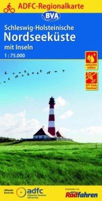 ADFC-Regionalkarte Schleswig-Holsteinische Nordseeküste mit Inseln mit Tagestouren-Vorschlägen, 1:75.000, reiß- und wett