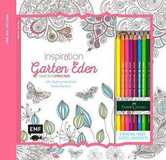Inspiration Garten Eden: 50 Naturmotive kolorieren, m. 8 Faber-Castell-Buntstiften