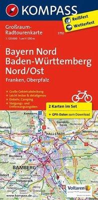 Kompass Großraum-Radtourenkarte Bayern Nord, Ba...