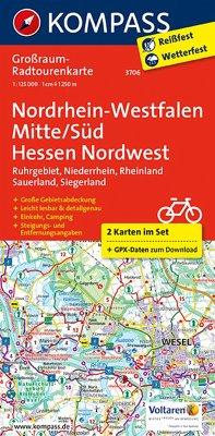 Kompass Großraum-Radtourenkarte Nordrhein-Westf...