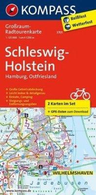 Kompass Großraum-Radtourenkarte Schleswig-Holst...