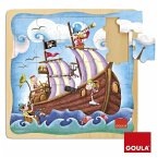 Goula D53099 - Holzpuzzle Piratenschiff, 25 Teile, holz hell