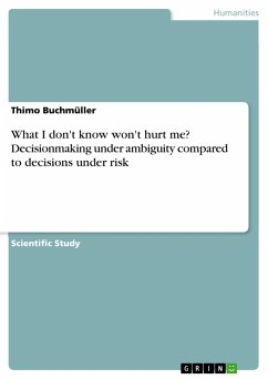 What I don't know won't hurt me? Decisionmaking under ambiguity compared to decisions under risk - Buchmüller, Thimo