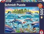 Schmidt 58227 - Riff der Delfine, Puzzle 500 Teile