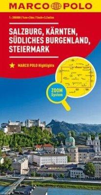 MARCO POLO Regionalkarte Österreich Blatt 02 Salzburg, Kärnten, Steiermark; Salzburg, Carinthia, Southern Burgenland, St