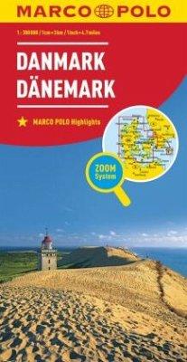 Marco Polo Karte Länderkarte Dänemark 1:300 000; Denmark / Danemark / Danmark