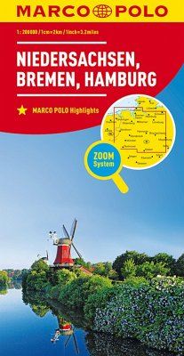 MARCO POLO Karte Niedersachsen, Bremen, Hamburg; Lower Saxony, Bremen, Hamburg; Basse-Saxe, Breme, Hambourg