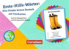 Erste-Hilfe-Wörter: Kita-Kinder lernen Deutsch mit Fotokarten