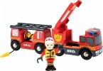 BRIO 33811 - World, Feuerwehr Leiterfahrzeug mit Licht und Sound