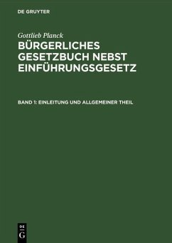 Einleitung und Allgemeiner Theil (eBook, PDF)