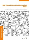 Major Trends in Theoretical and Applied Linguistics 1 (eBook, PDF)