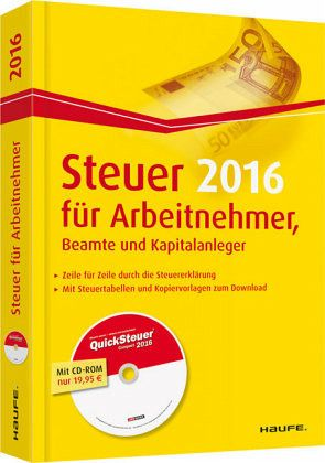 steuer 2016 f r arbeitnehmer beamte und kapitalanleger m cd rom quicksteuer von willi. Black Bedroom Furniture Sets. Home Design Ideas
