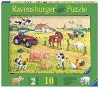 Ravensburger 03672 - Kunterbunter Bauernhof, 10Teile Holzpuzzle