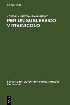 Per un sublessico vitivinicolo (eBook, PDF) - Hohnerlein-Buchinger, Thomas