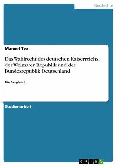 Das Wahlrecht des deutschen Kaiserreichs, der Weimarer Republik und der Bundesrepublik Deutschland